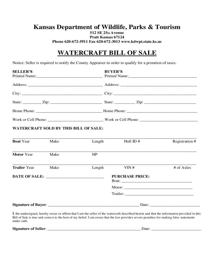 Watercraft Bill of Sale Form - Kansas Free Download