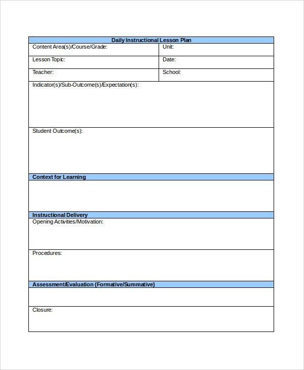Lesson Plan Sample In Word. Printable Lesson Plan Template In Pdf ...