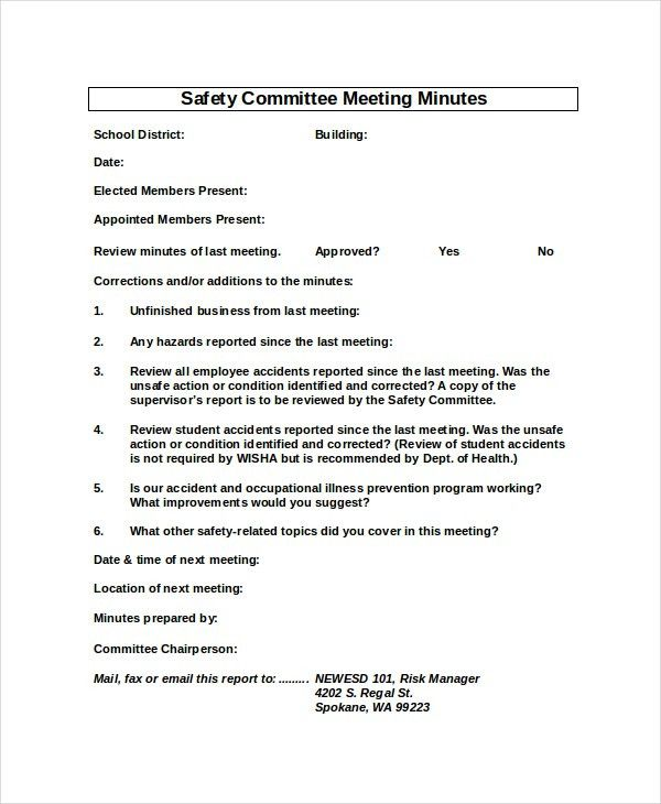 Safety Meeting Minutes Template - 5 Free Word, PDF Document ...