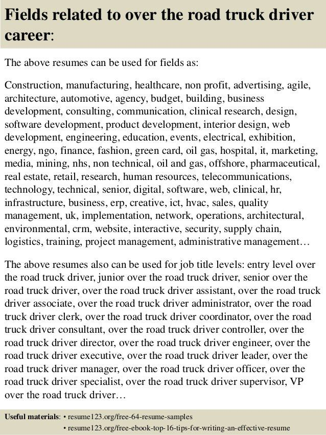 Top 8 over the road truck driver resume samples