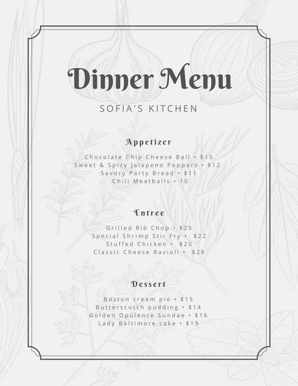 Black and White Vintage Illustrations Dinner Menu - Templates by Canva