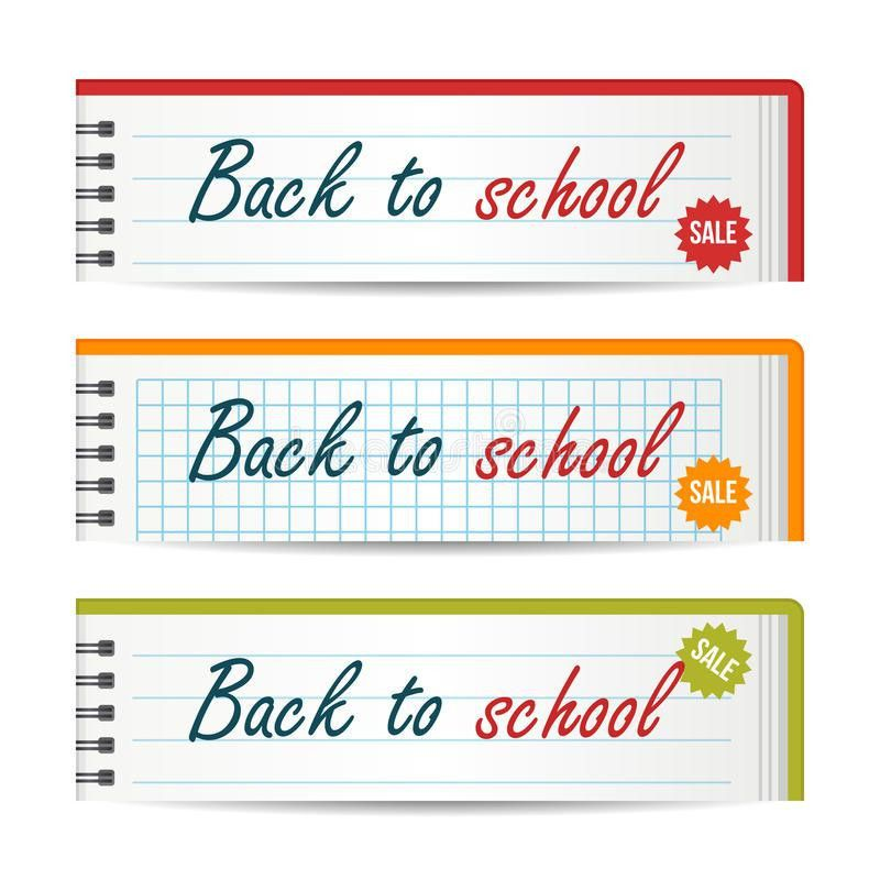 Modern Horizontal Banners Template With Back To School Text ...