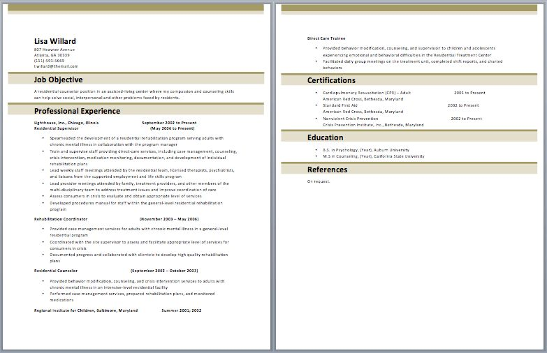Residential Counselor Resume – Best Resume Examples