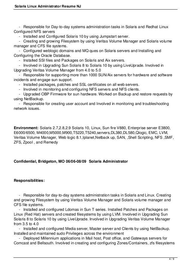 Download Solaris Administration Sample Resume ...
