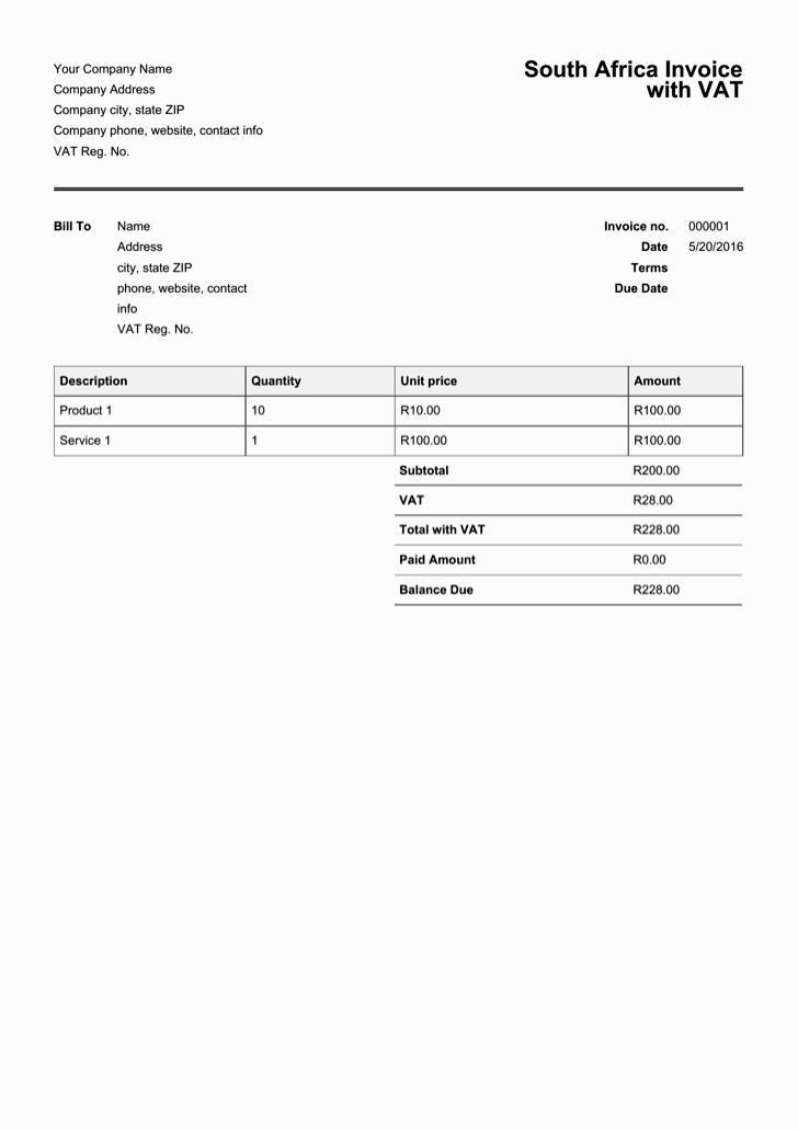 Download Invoice Template Free Download South Africa | rabitah.net