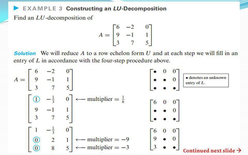 Chapter 9.1 = LU Decomposition MATH 264 Linear Algebra. - ppt ...