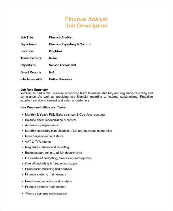 Finance Analyst Job Description Duties Responsibilities - oukasinfo