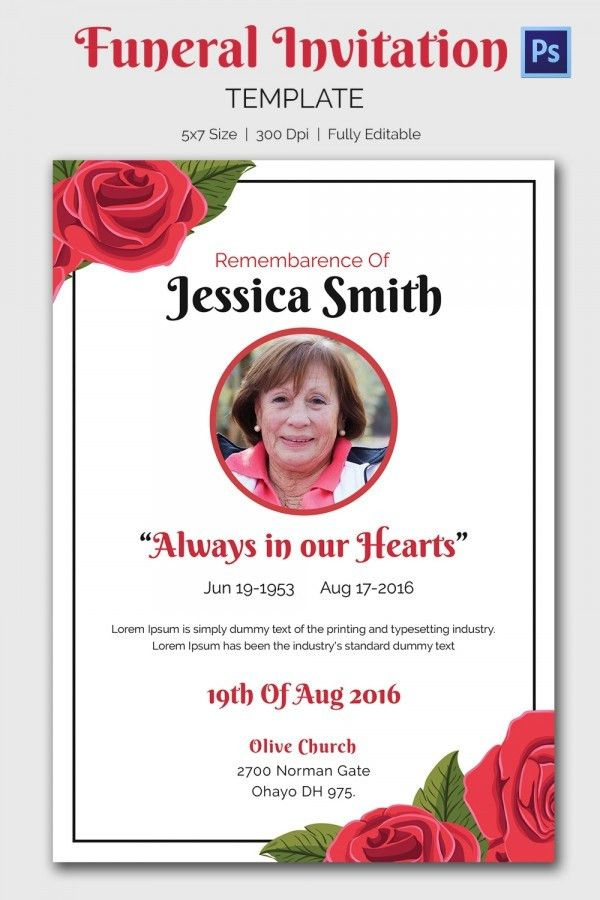 funeral invitation template 15 funeral invitation templates free ...
