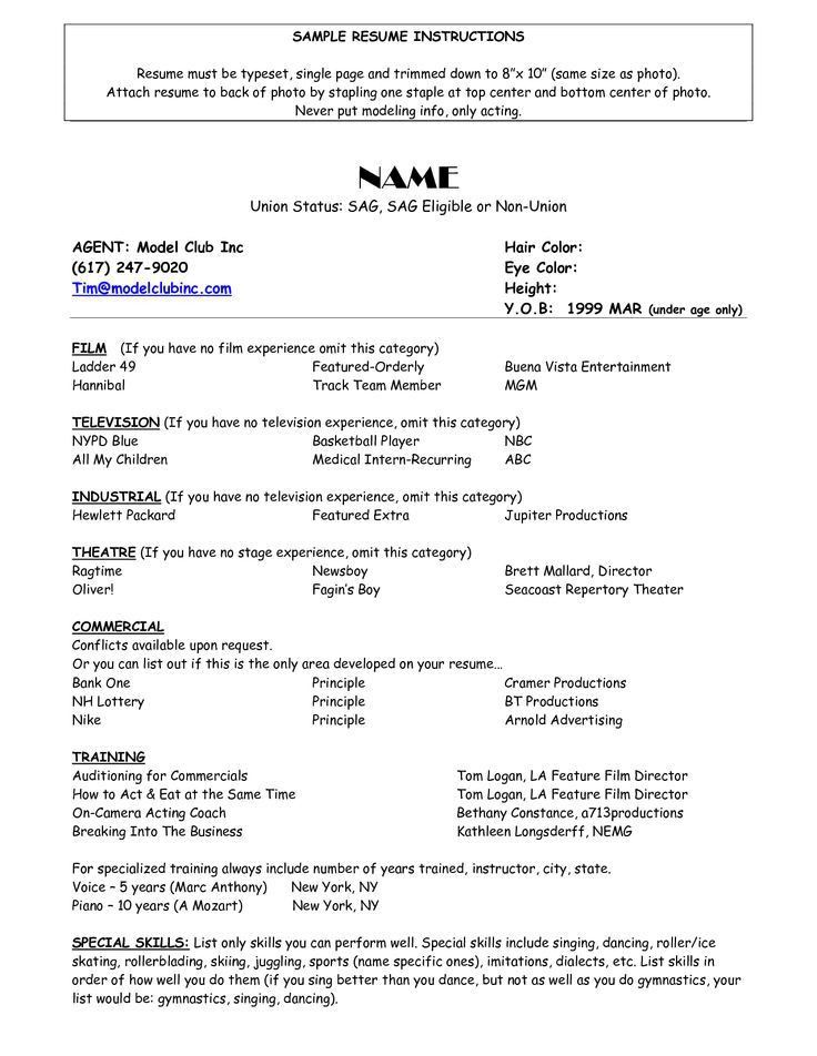 Acting Resume Actor Resumes Child Acting Resume Format Examples ...