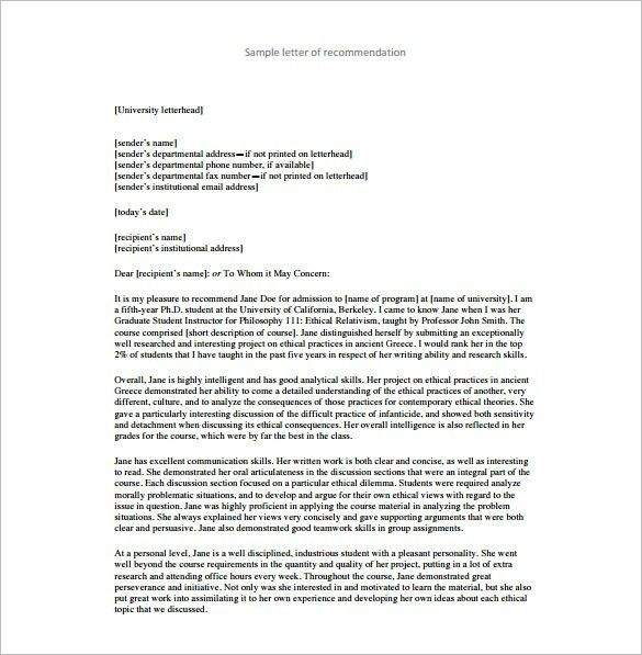 25+ Recommendation Letter Templates – Free Sample, Format ...