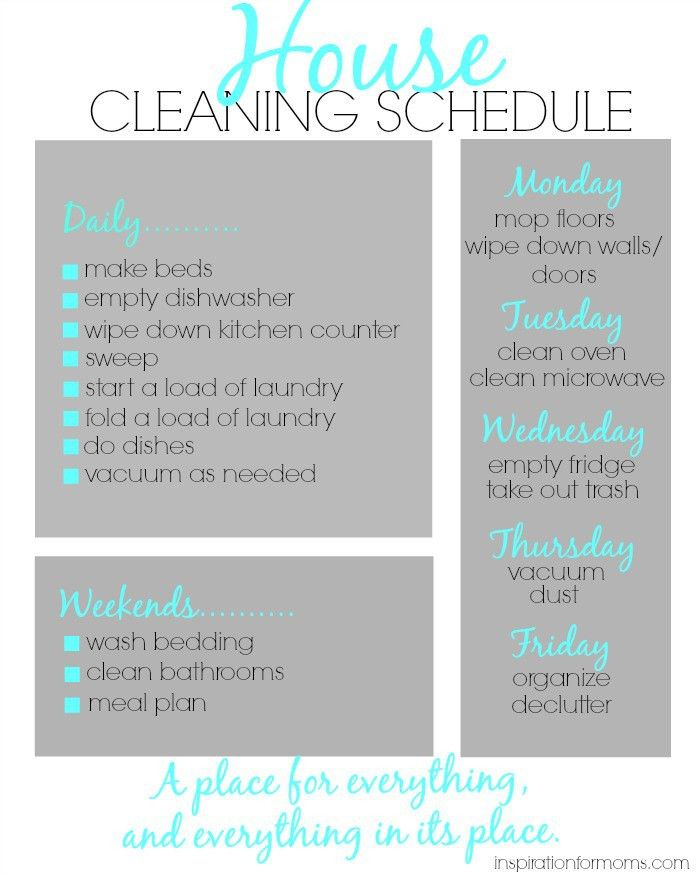 House Cleaning Schedule | House cleaning schedules, Cleaning ...