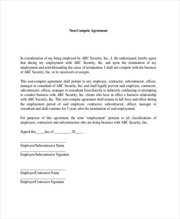 9+ Contractor Non-Compete Agreement Templates - Free Sample ...