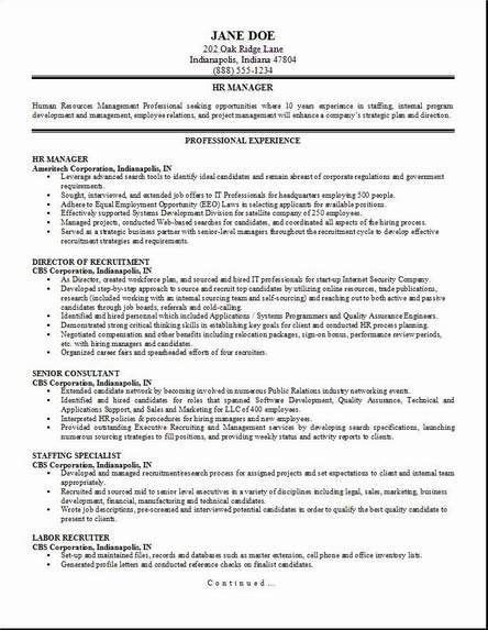 Human Resource Resume. Human Resources Resume Examples Sample ...