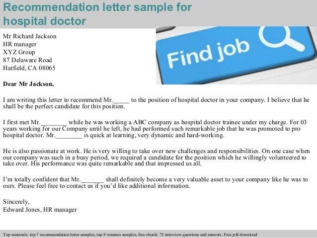 Hospital doctor recommendation letter