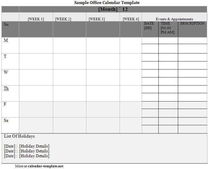 Office Calendar Template | Calendar Template