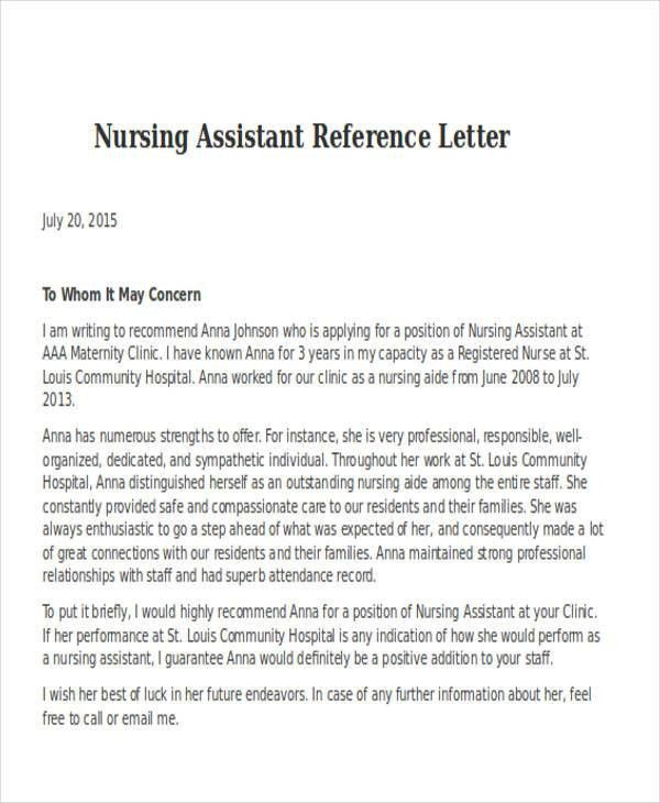 Nursing Reference Letter Templates - 8+ Free Word, PDF Format ...