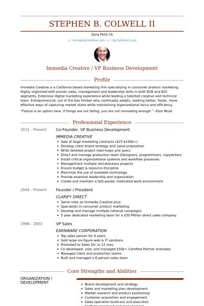 Vp, Business Development Resume samples - VisualCV resume samples ...