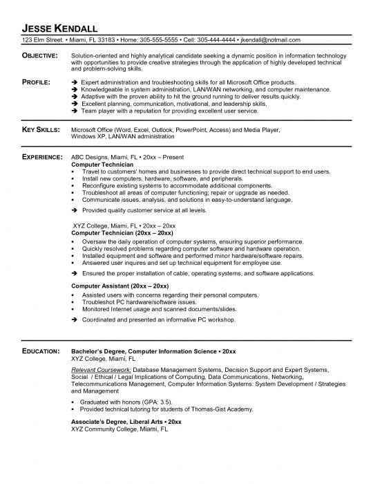 The Most Amazing Resume Sample For Computer Technician | Resume ...