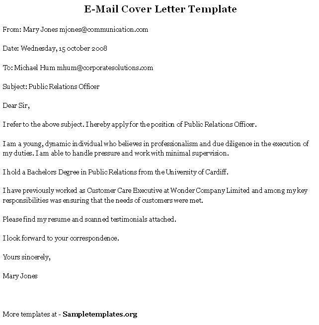 Sample Email Cover Letter - My Document Blog