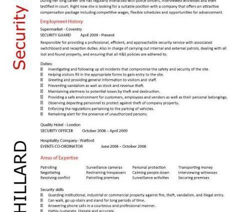 security resume example security guard resume template mary ...