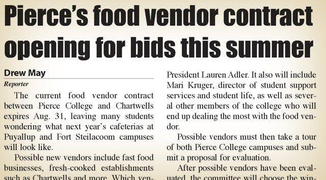 Pierce's food vendor contract opening for bids in summer – The ...