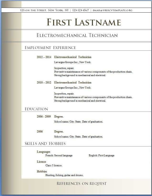 Resume Template For Fresher 10 Free Word Excel Pdf Format Basic ...