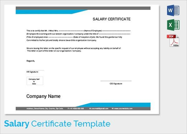 Sample Salary Certificate Template - 21+ Documents in PDF, Word
