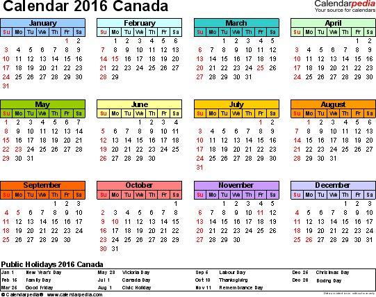 Canada Calendar 2016 - Free Word Calendar Templates