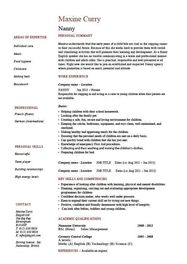 Nanny resume, example, sample, babysitting, children, professional ...