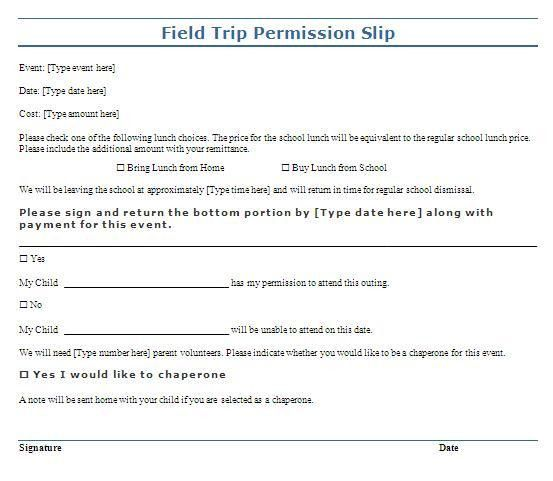 Trip Permission Slip Template | Free Layout & Format