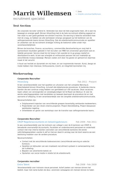 Corporate Recruiter Resume samples - VisualCV resume samples database