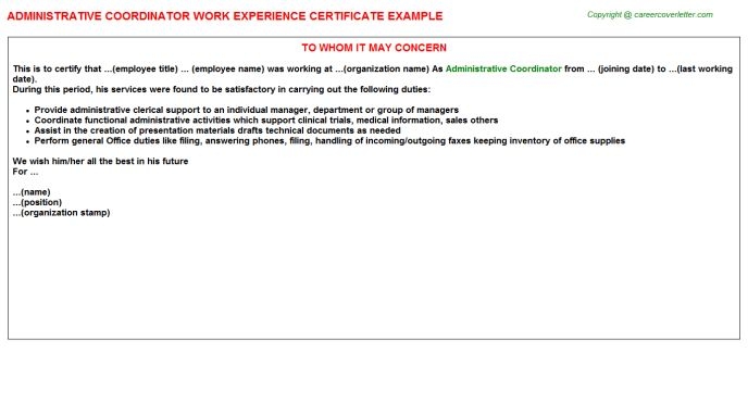 Group certificate example ytd calculator calculate your year to administrative coordinator work experience certificate yadclub Image collections