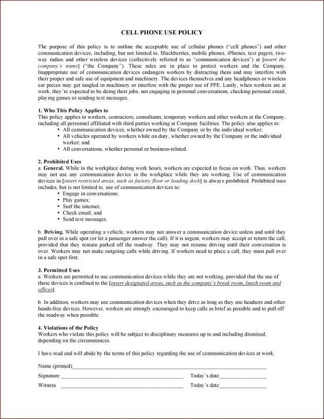 Company Cell Phone Policy Template   Template Idea