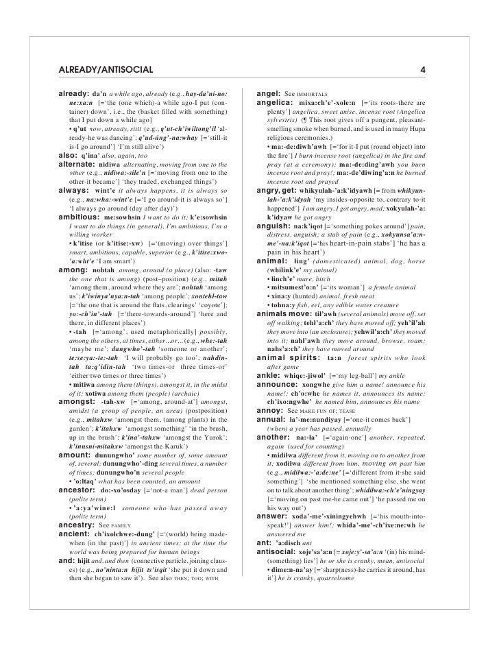Hupa Language Dictionary