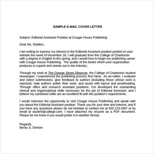 Editorial Internship Cover Letter Sample in Internship Cover ...