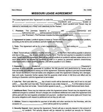 Missouri Residential Lease Agreement | Create a Free Rental ...