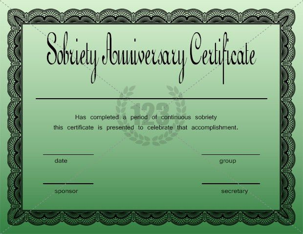 Sobriety Anniversary Certificate Template Free | Certificate Templates