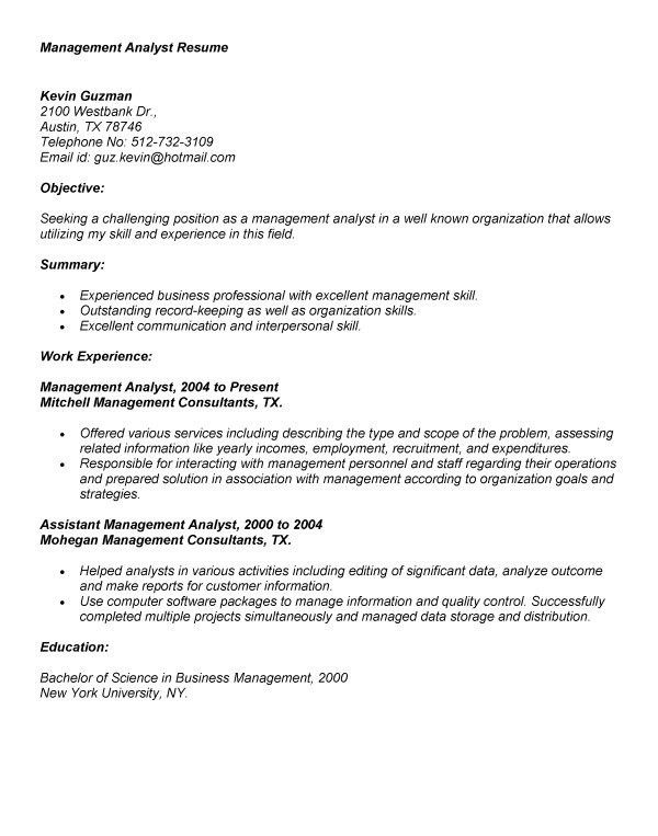 Management Analyst Resume | berathen.Com