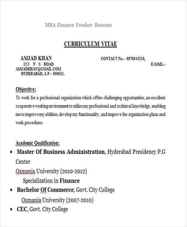 Professional Fresher Resume. Mba Finance Fresher 25+ Modern ...