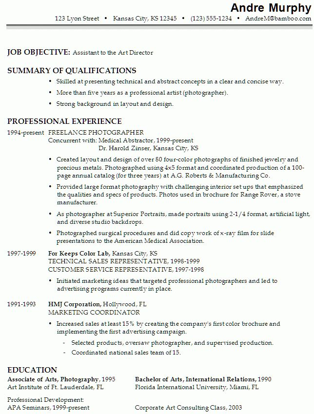 Resume for an Assistant to the Art Director - Susan Ireland Resumes