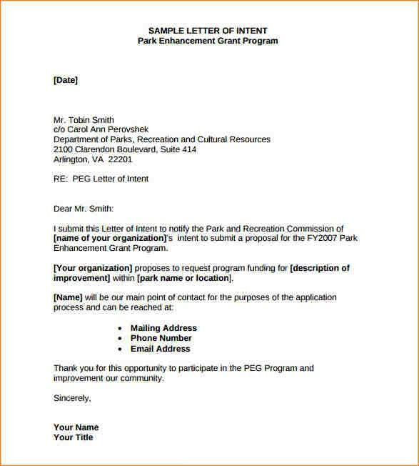 statement of intent template letter of intent sample writing