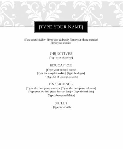 Black Tie Theme Resume Template
