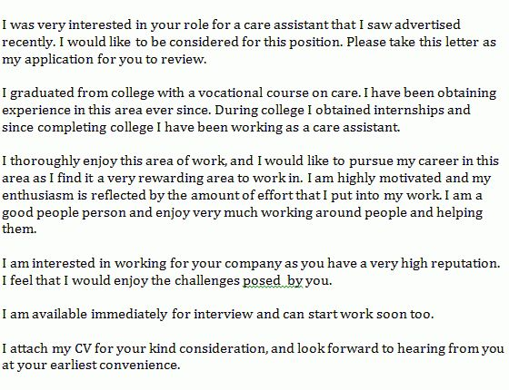 care assistant cover letter example - Learnist.org
