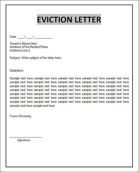 Best Photos of Tenant Eviction Letter Template - Sample Eviction ...