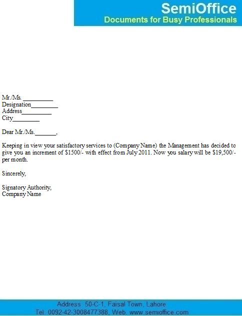 Salary Increase Notification Letter Sample for Employees