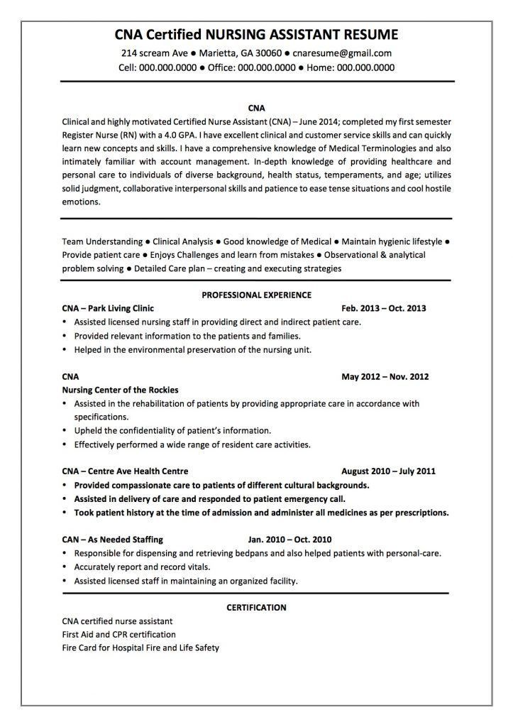 Resume For Cna Examples [Template.billybullock.us ]