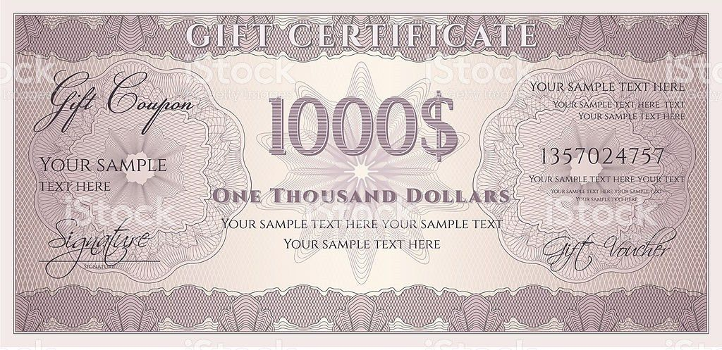 One Thousand Dollars Gift Certificate Template stock vector art ...