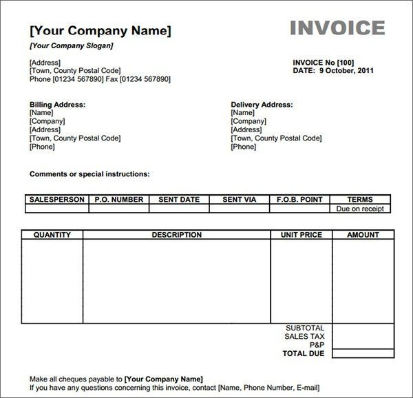 invoice template excel download free   printable invoice template