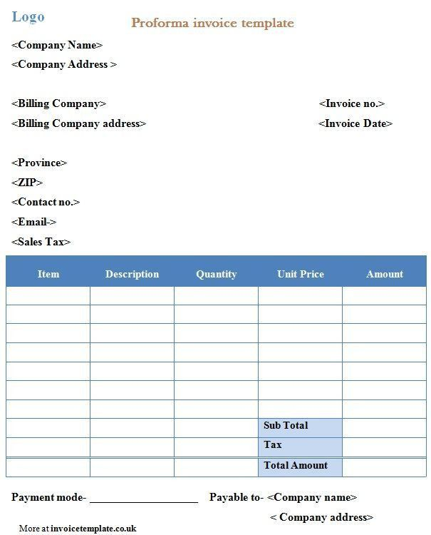 Professional Proforma Invoice Template | ExcelTemple | Excel ...