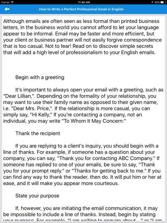 English letter templates - Writing Effective Email on the App Store